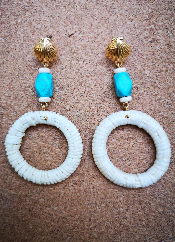 howlite straw earrings