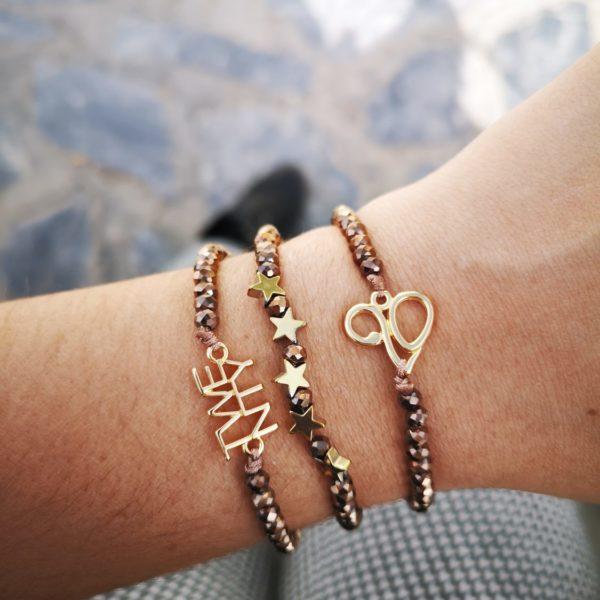 gun metal crystal charm bracelet