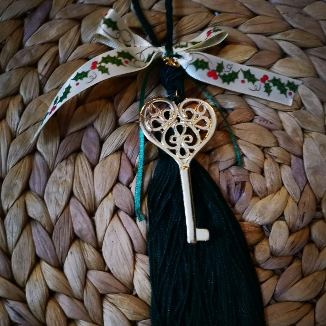 Heart Key Charm Green