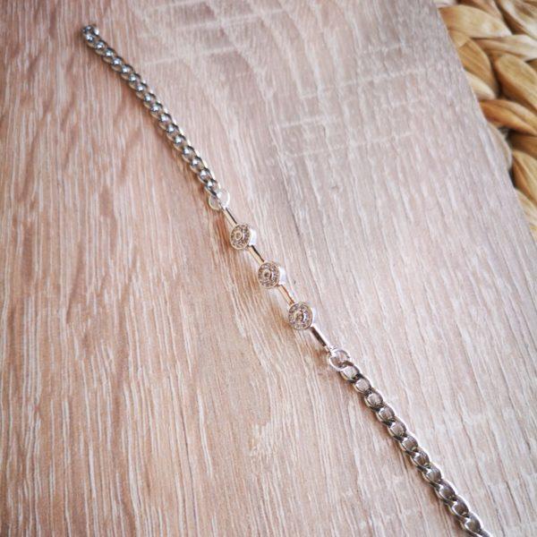 Silver Zircon Label Bracelet