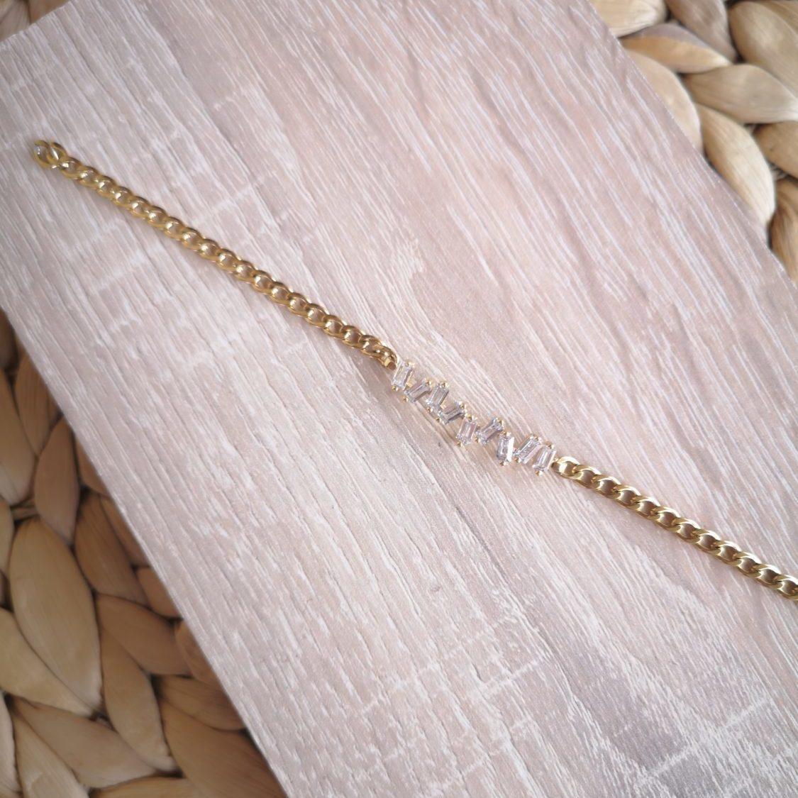 Gold Zircon Label Bracelet