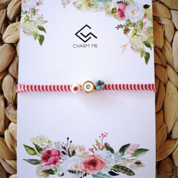 Eye March Bracelet-πλακέ κορδόνι