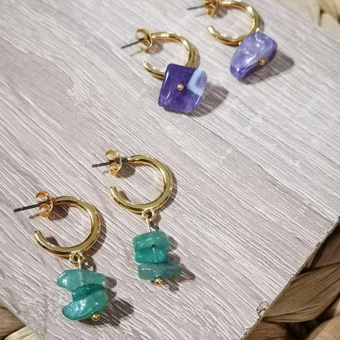 aventurine earrings- amethyst earrings