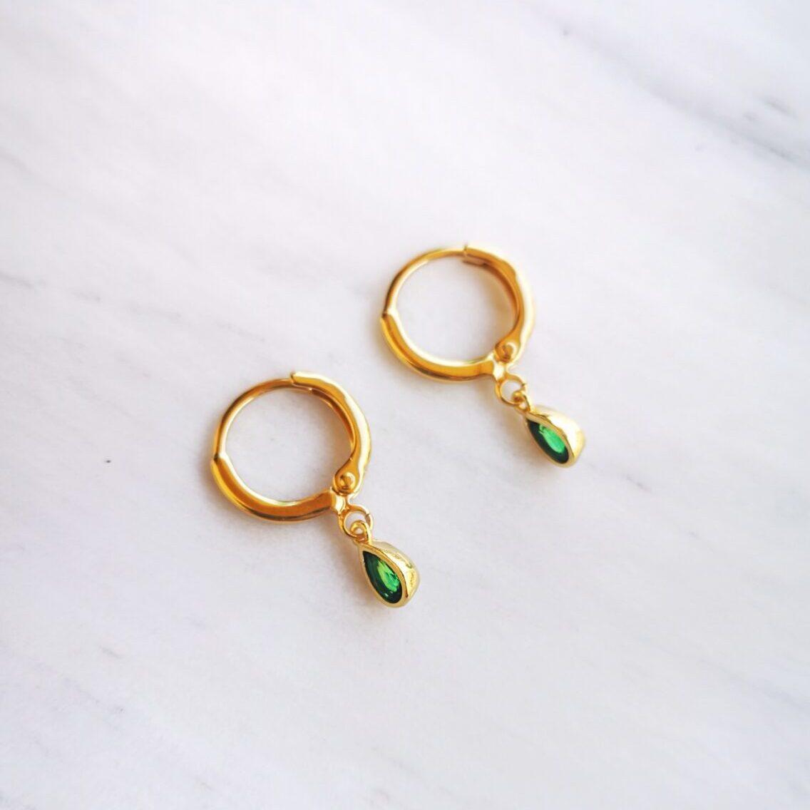 Emerald Zircon Hoops
